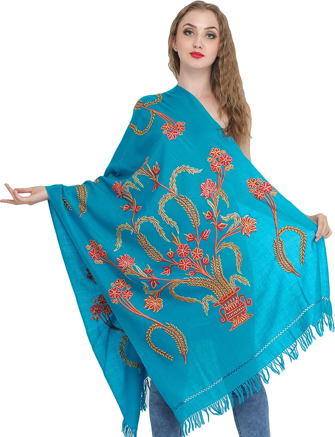 Exotic India Stole from Kashmir with Ari Hand-Embroider