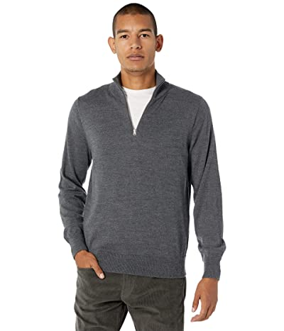 J.Crew Washable Merino Wool Half-Zip Sweater (Heather Gravel) Men