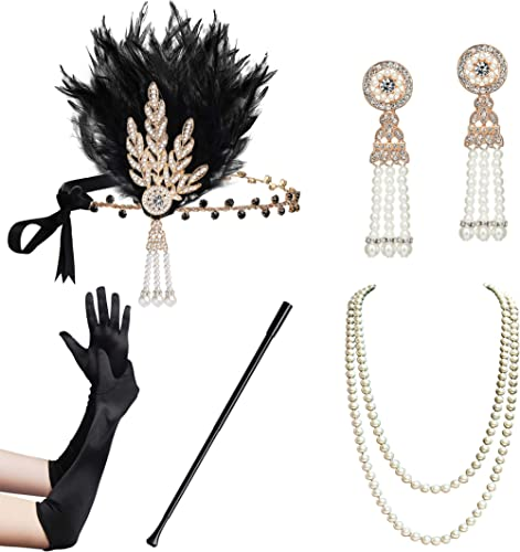 BABEYOND 1920s Flapper Gatsby Costume Accessories Set 20s Flapper Headband Pearl Necklace Gloves Cigarette Holder (Fl...