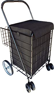 Portable Double Basket Heavy-Duty Folding Shopping Cart w/Front Swivel Wheels, and Steel Back Wheels - Fits in Trunk OR Back Seat - Never Make Two Grocery Trips Again - Black with Liner