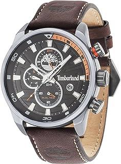 Timberland Henniker II 14816JLU/02 A, orologio al quarzo con quadrante analogico nero e cinturino in pelle marrone scuro, ...