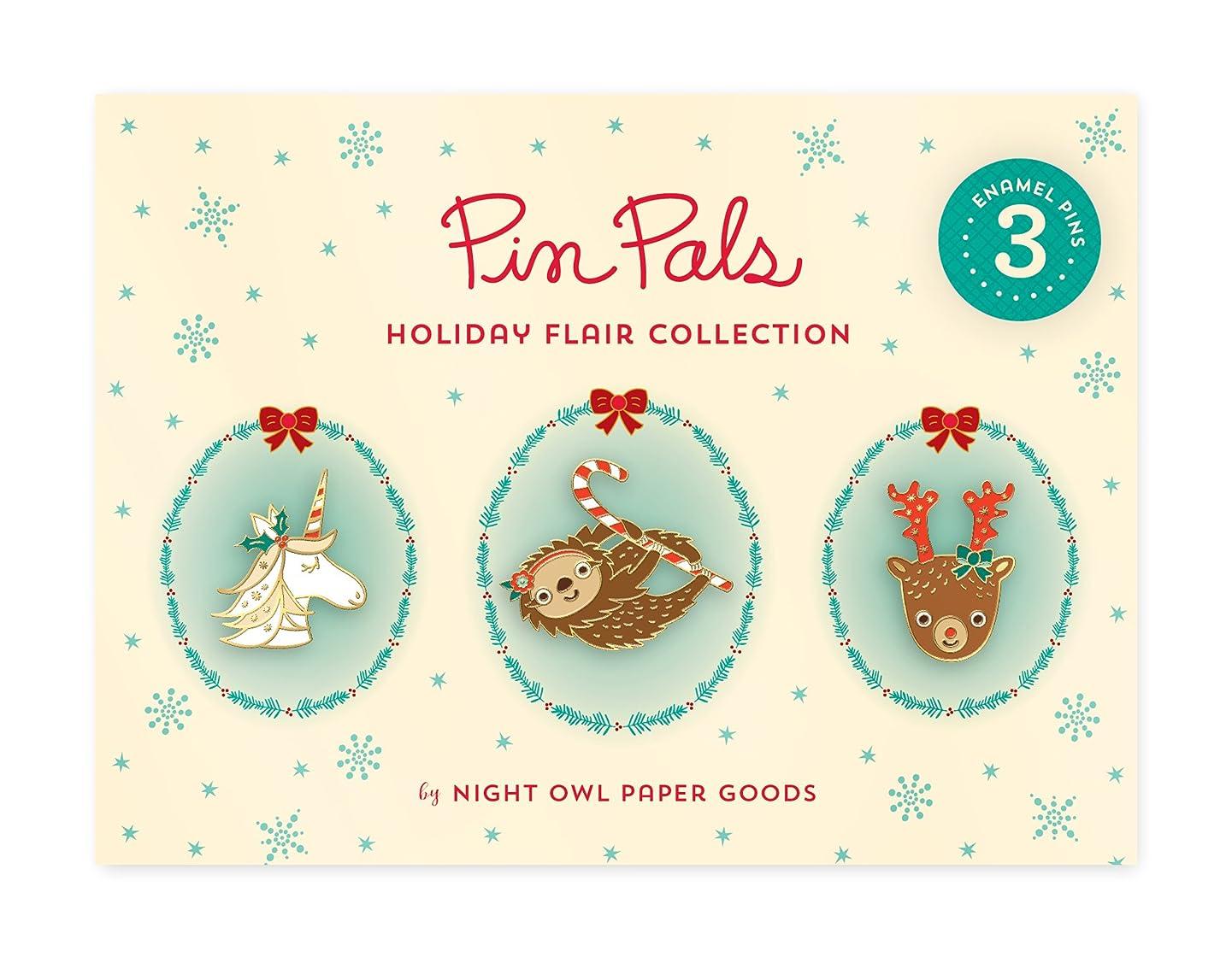 Night Owl Paper Goods Gift Set Unicorn/Reindeer/Sloth Enamel Pin (Set of 3)