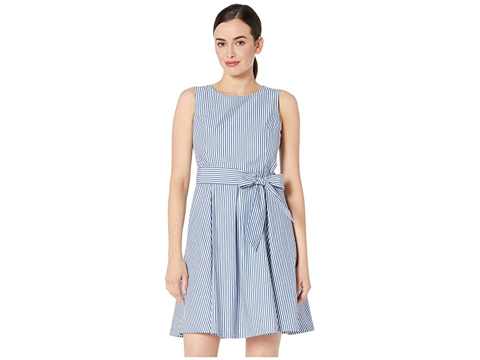 Pappagallo Princess Seam Dress w/ Pleat Flare Skirt and Sash Cotton Stripe (Royal Denim/White) Women