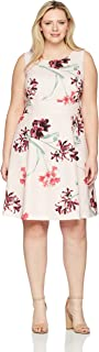 Women's Size Plus Printed Crepe Dress with Waist Treatment