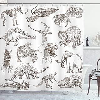 Ambesonne Jurassic Shower Curtain, Arrangement of Various Dinosaurs Illustrations Skeleton Biology Historic, Cloth Fabric Bathroom Decor Set with Hooks, 84