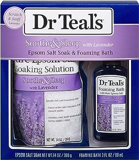 Dr Teal's Lavender Epsom Salt & Foaming Bath Oil Sampler Gift Set 2019 - Give The Gift of Relaxation & Peaceful Slumber! - 14 oz Bag of Lavender Bath Salts & 3 oz Bottle of Lavender Foaming Bath Oil
