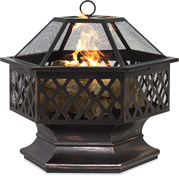 Best Choice Products 24in Hex Shaped Steel Fire Pit Decoration Accent For Patio Backyard Poolside W Flame Retardant Lid Black