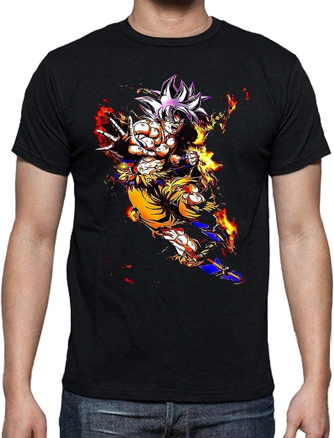 JUL Camiseta Dragon Ball, Goku -Negra Algodon