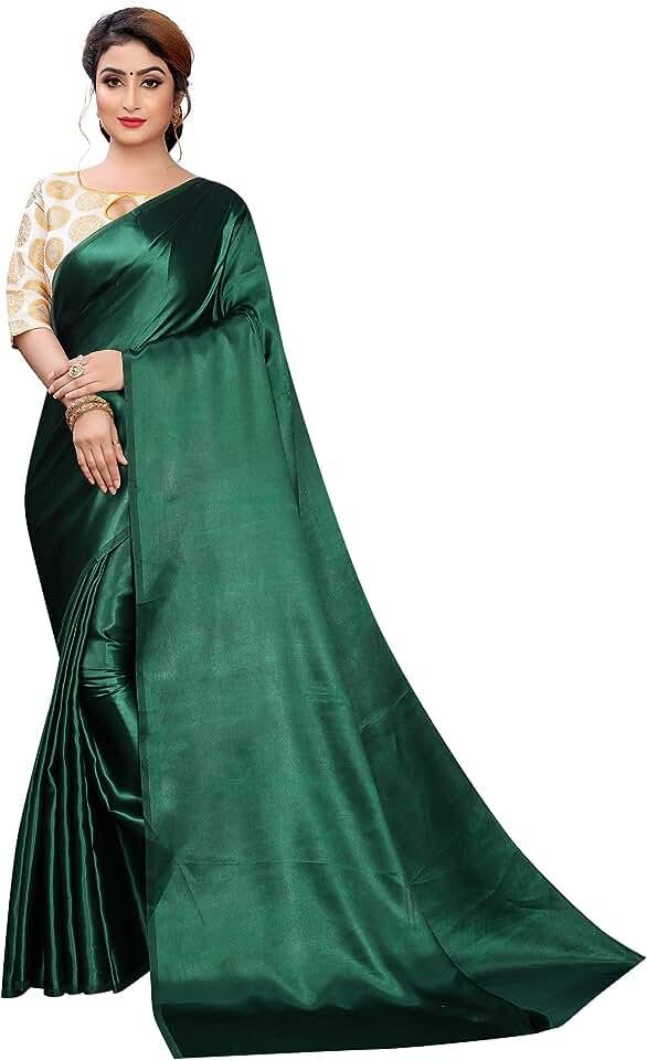 Indian PERFECTBLUE Women's Satin Saree with Unstitched Blouse Piece (Roundsatin) Saree