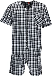 Men's Big and Tall Short Sleeve Shorts Sleep Pajama Set, Black, XXX-Large
