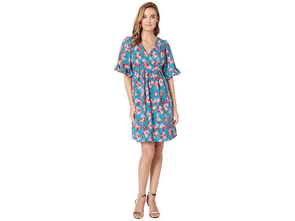 Betsey Johnson Vintage Cuban Rose Dress with Bell Sleeves (Island Blue Floral) Women