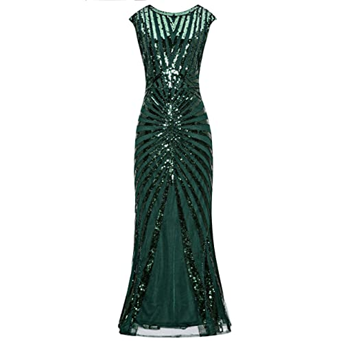 f10374aa7cf Metme Formal Evening Dress 1920s Sequin Mermaid Formal Long Flapper Gown  Party