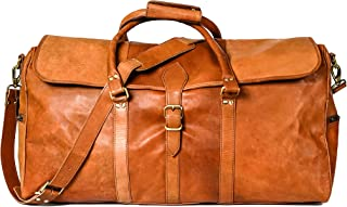 Vintage Leather Duffle Bag Travel Overnight Bag Men's Duffle Bag [ Denver]