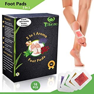 Tikoro Foot Pads for Pain and Stress Relief - Ginger, Lavender, Green Tea, Rose - Premium Aromatherapy Feet Patches - 2 in 1 Upgraded - Natural, Organic 16 pcs - Improve Sleep - Bonus eBook