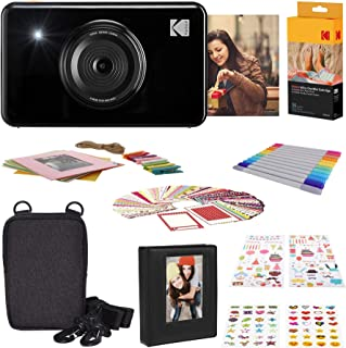 Kodak Mini Shot Wireless Sofortbild Digitalkamera (Schwarz) 2x3 Zoll Druck mit patentierter 4 Pass Drucktechnologie, Geschenk Bundle