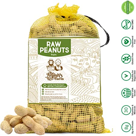 Raw Peanuts in Shell from The Amish Eco-Farm 2lbs ((Great for Boiling, Squirrels and Birds)