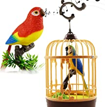 Haktoys Singing & Chirping Toy Bird in a Cage, Moving Beak and Tail   Sound Activated and Battery Operated Realistic Parakeet on a Tree Branch - Colors May Vary   Great Desk and Room Accessory
