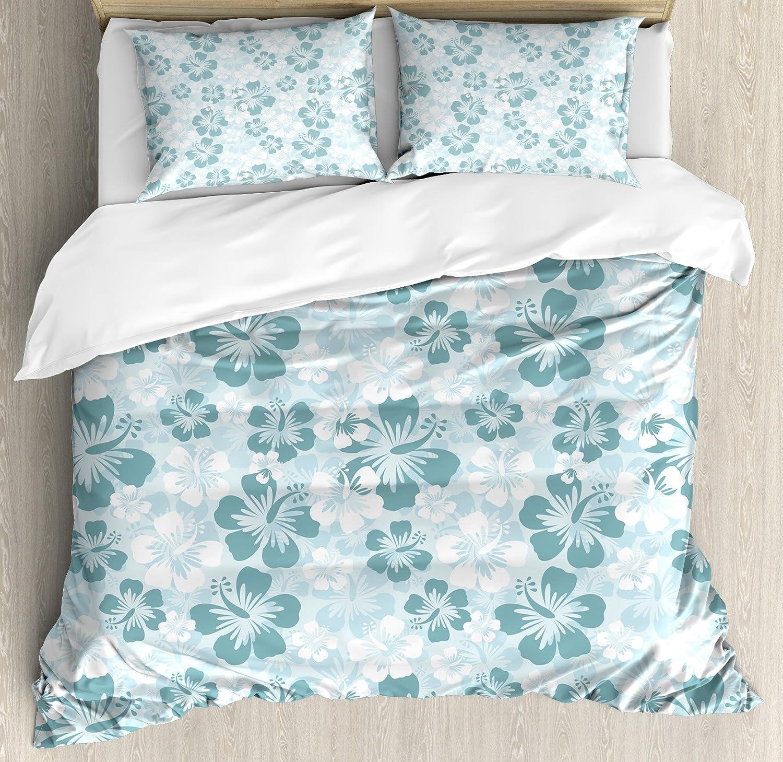 Ambesonne Hawaiian Duvet Cover Set, Rainforest Sea Coasts Palm Trees Happy  Times Simple Monochromic Art, Decorative 200 Piece Bedding Set with 20 Pillow  ...