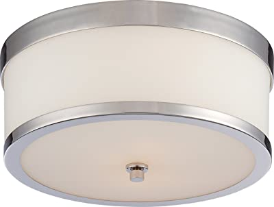 NUVO 60/5476 Two Light Flush Mount, Polished Nickel