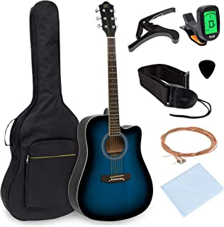 Best Choice Products 41in Full Size Beginner Acoustic Cutaway Guitar Set w/Case, Strap,..