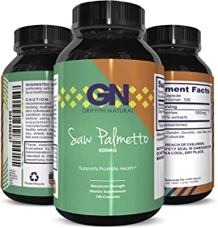 Natural Saw Palmetto Supplement, Hair Loss and Testosterone Support with Purest Berry Extract, Powder in Food, Grade Capsules a Rapid Absorption and Fast Acting by Griffith Natural