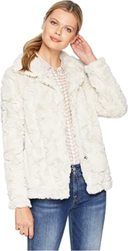 Antique White Faux Fur Plush Jacket