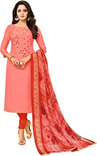 Rajnandini Women's Peach Chanderi Silk Embroidered Semi-Stitched Salwar Suit Material With Printed Dupatta (Free Size)