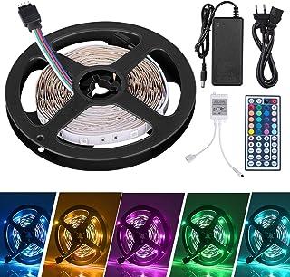 Adoric 5m Tiras LED Tiras de Luces LED Iluminación con 150 Leds 12V, Adaptador de Alimentación 3A, Control Remoto de 44 Claves, Receptor,5m [Clase de eficiencia energética A+++]