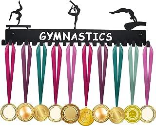 ULwysd Sport Medal Hanger Display Holder for 40 Medals - Medal Awards Display Rack with 20 Hooks-Gymnastics- Black-Best Gifts Medal Display Honors Holder