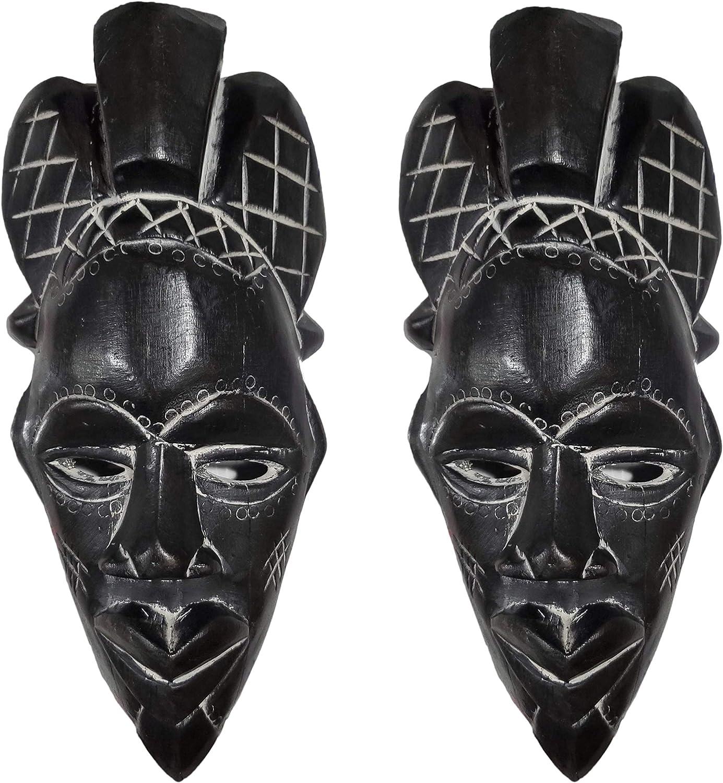 NOVARENA 1-3 Pc African Art Cameroon Gabon Fang Wall Masks and Sculptures - Africa Home Mask Decor (2 Pc Black Congo Masks)