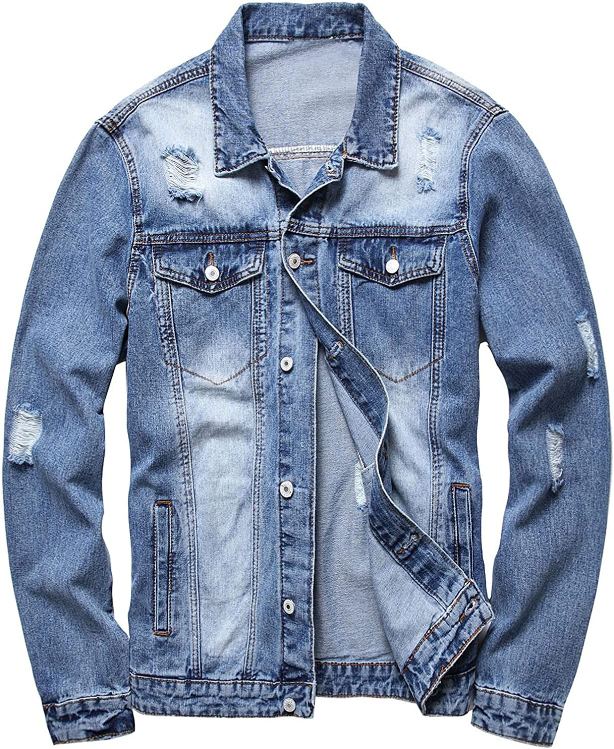 Hugogo Mens Denim Coats and Jackets excellence Button Selling rankings Up Poc Fashion Casual