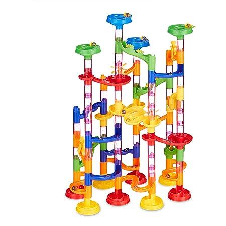 105Pcs Ballspiele Maze Ball Slide Kinderbauset Mehrfarbige Murmelbahn Marble Run Set mit Glasmurmeln und Bahnelementen Lernspielzeug f/ür Kinder 3 Jahre altes Kinderspielzeug