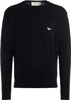MAISON KITSUNÈ Man's Maison Kitsuné Sweater in Black Wool with Tricolor Fox-Shaped Patch