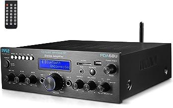 Pyle Wireless Bluetooth Power Amplifier System - 200W Dual Channel Sound Audio Stereo Receiver w/ USB, SD, AUX, MIC IN w/ ...