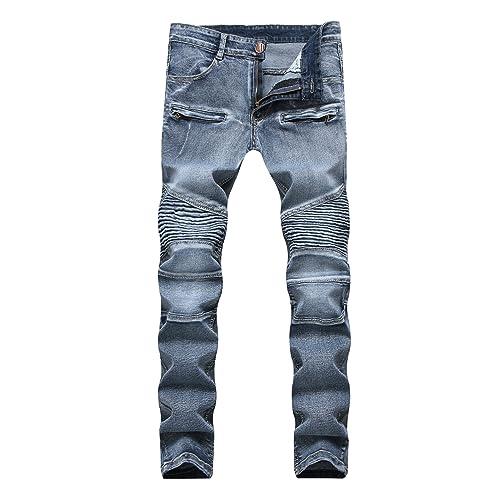 0c851a9df4 Men s Vintage Washed Grey Wrinkle Elastic Skinny Moto Biker Jeans