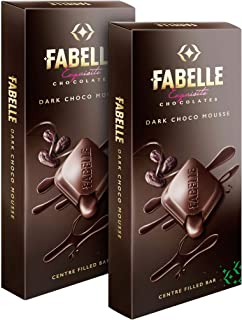 Fabelle Dark Mousse, Pack of 2x135g, Luxury Dark Chocolate Centre-Filled Bar Filled with Dark Choco Mousse