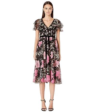 Marchesa Notte Flutter Sleeve V-Neck Embroidered Cocktail Dress (Rose) Women