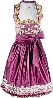 Iseaa Damen Dirndl Kleid Dirndlkleid Trachtenkleid Midi Tilda mit Zierrüschen lila