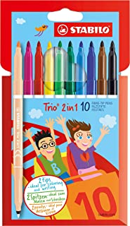 Sketch Pen - STABILO Trio 2 in1 - Wallet of 10 (Assorted Colours)