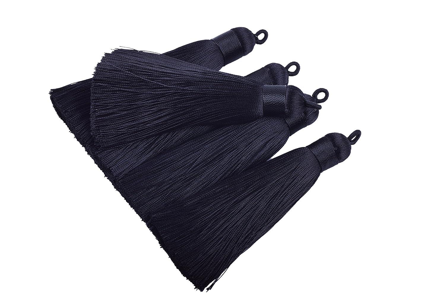 Konmay 10pcs 3.4''(8.5cm) Handmade Imitation Silk Tassels with Hanging Loop for Jewelry Making (Black)