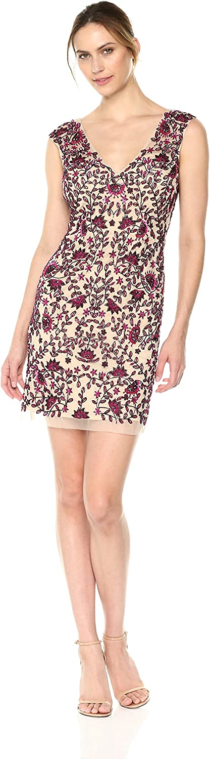 Aidan Mattox Womens Fully Embellished Floral Beaded Cocktail Special Occasion Dress