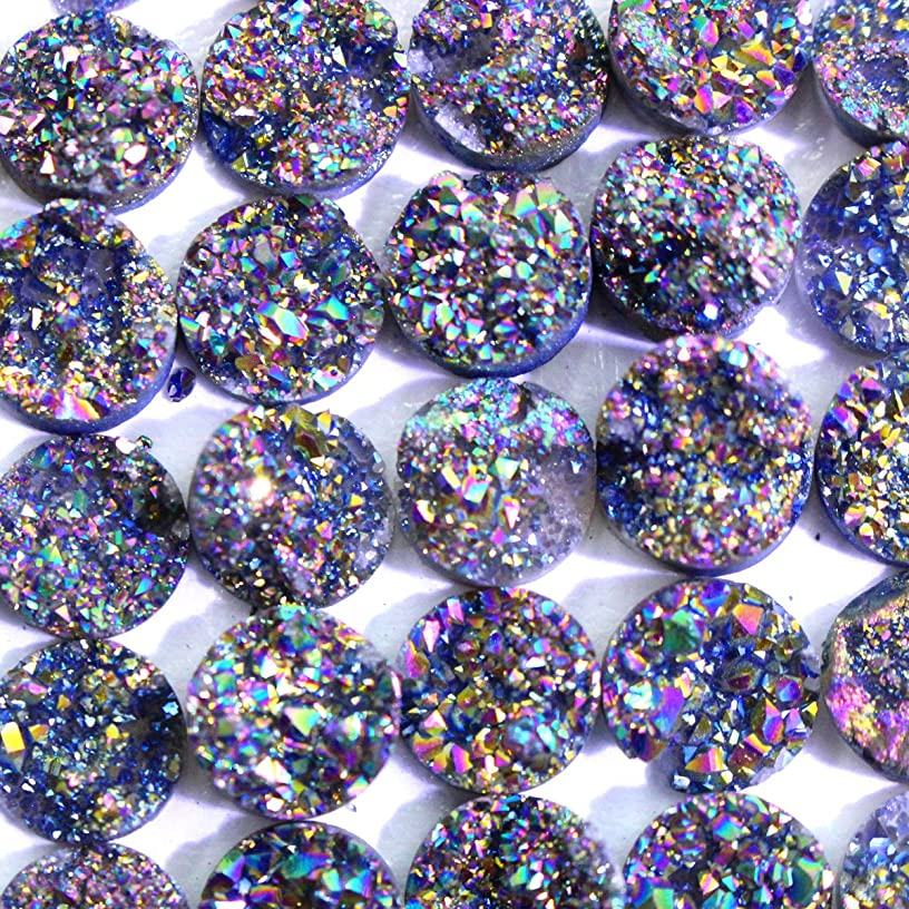 5pcs Natural Gemstone Druzy Agate Coin 10mm Cabochons for Jewelry Making Beads Cabs (Cab209 12mm)