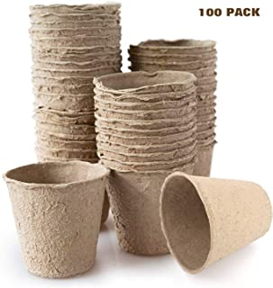 Housolution Peat Pots for Seedlings, 100 Pieces 3 Inch Gardening Seed Starter Tray Kit, Biodegradable Eco-Friendly Plant Starting Pots, Khaki