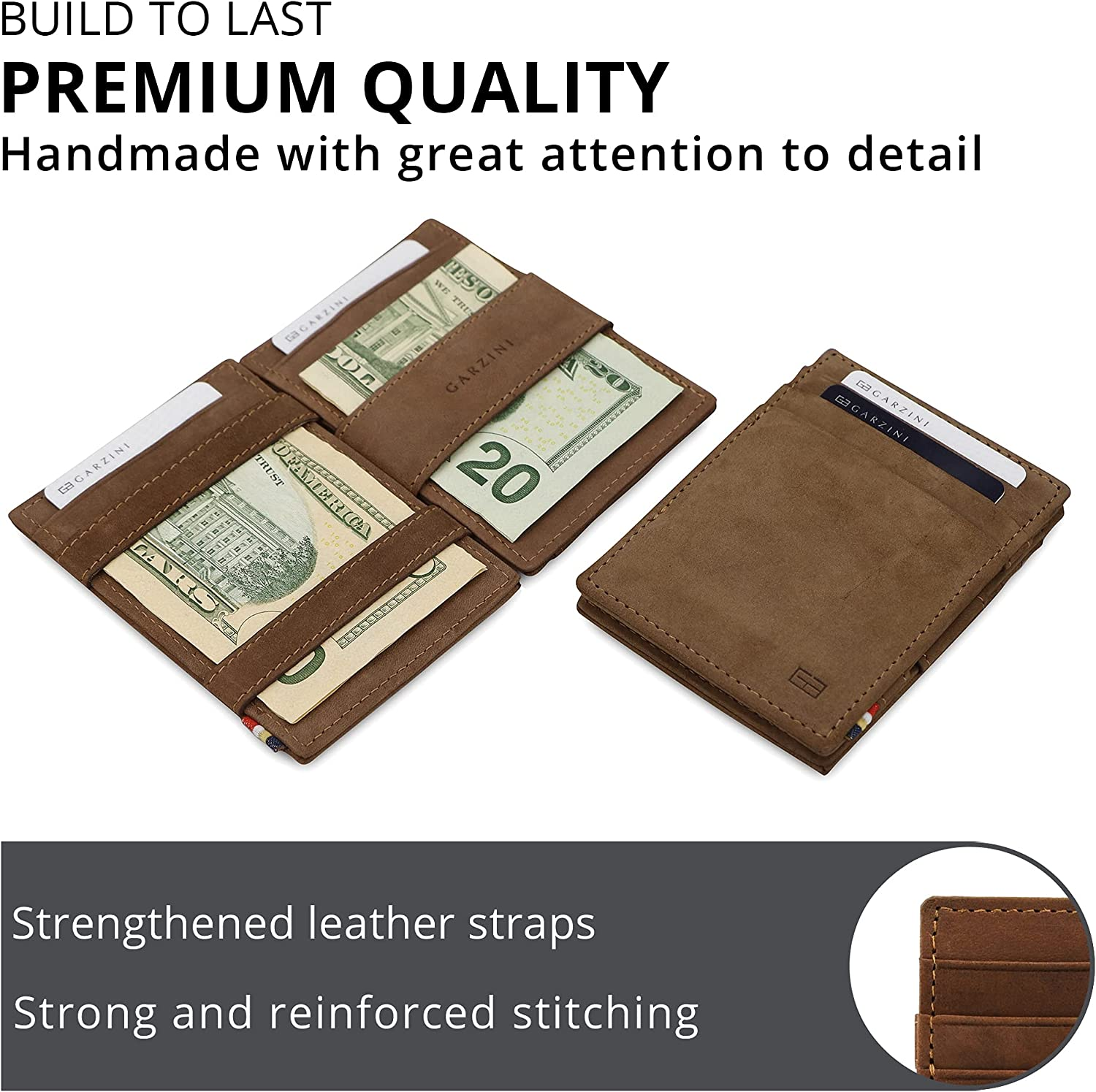 Garzini Magic Wallet with ID Window, Minimalist Wallet with RFID card holder, Leather Wallet for 8 cards, Java Brown