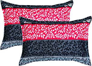 """Trendz Home Furnishing Cotton 2 Piece Cotton Pillow Cover Set - 20""""x30"""", Green, Rust and White (Black & Silver)"""