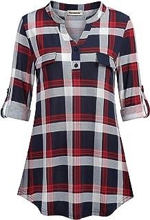 Nandashe Womens 3/4 Roll Sleeve Shirt V Neck Button Down...