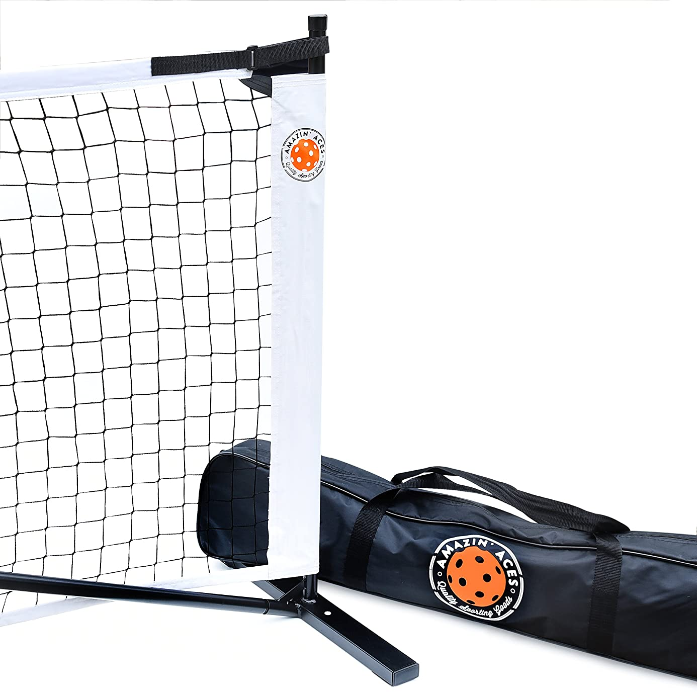 Amazin' Aces Portable Pickleball Net | Premium Net Set Includes Easy-Snap Metal Frame, Tension Strap Net, Carry Bag for Easy Carry | Regulation Size Pickle Ball Net