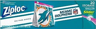 Ziploc Brand NFL Miami Dolphins Slider Gallon, 20 ct