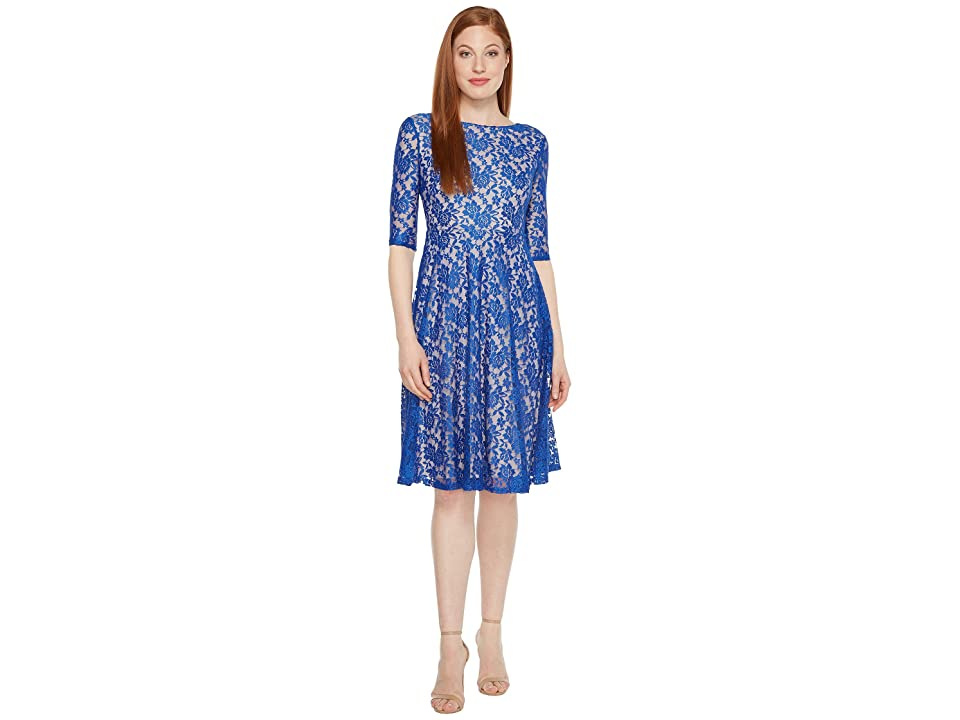 Sangria 3/4 Sleeve All Over Lace High-Low Hem Fit Flare (Royal/Putty-1) Women