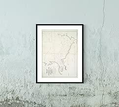 1836 Map Washington Chart The Mouth Susquehanna River Head Waters Chesapeake Bay, Maryland Hughes, George W. (George Wurtz) (1806-1870) (Engineer) Vintage Fine Art Reproduction Ready